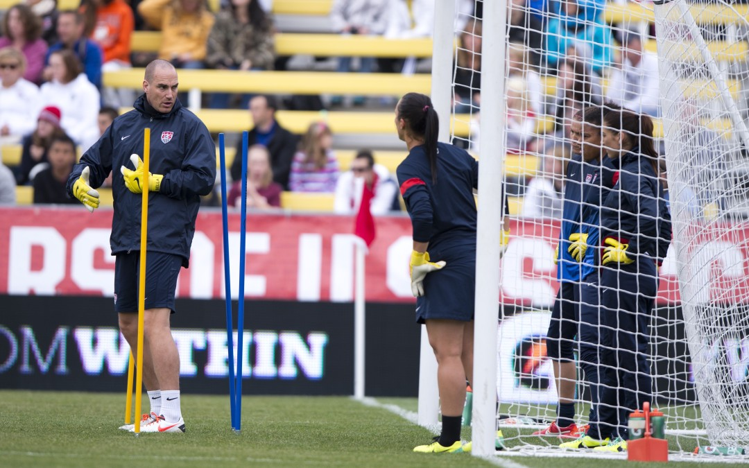 USWNT goalkeepers coach Paul Rogers talks to his charges during practice at Crew Stadium in Columbus, OH.